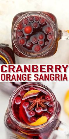 Orange Cranberry Sangria bursts with flavors reminiscent of autumn and winter! This makes for the perfect cocktail for upcoming holidays, with hints of orange and spices! Christmas Drinks Alcohol, Christmas Sangria, Holiday Drinks, Cranberry Sangria, Cranberry Recipes, Red Sangria Recipes, Margarita Recipes, Cocktail And Mocktail, Fun Cocktails