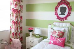 Stripes look great in any color. #stripes #green #nursery