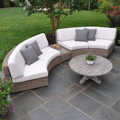 Kingsley-Bate: Elegant Outdoor Furniture- Sag Harbor Curved Sectional with Brussels Coffee Table (and patio tile) Diy Garden Furniture, Patio Furniture Sets, Luxury Furniture, Furniture Decor, Furniture Design, Rustic Furniture, Antique Furniture, Industrial Furniture, Willow Furniture