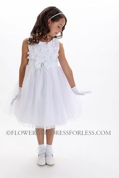 Flower Girl Dress Style 177 - SALE White Embroidered Organza Dress with Rhinestone Bow