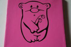 Teddy Bear with Berries Zoo Animal Children Office Art