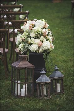 lantern and floral ceremony decor - Deer Pearl Flowers