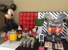 Dessert table at a Mickey Mouse birthday party! See more party ideas at CatchMyParty.com!