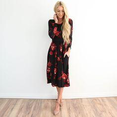 Floral Flared Pocket Dress
