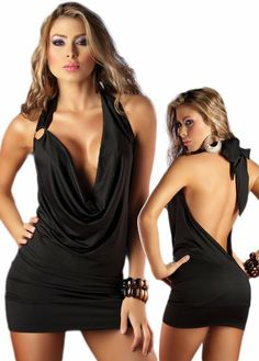 Deep Plunging Dress - Black Open Back Halter Style - Small - Panty Hoarder Club Dresses, Sexy Dresses, Beautiful Dresses, Beautiful Wife, Lace Dresses, Wedding Dresses, Plunge Dress, Dress Cuts, Up Girl
