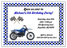 Dirt bike birthday party invitations blue are excellent for kids birthday parties! These are printed using a high quality laser printer and the finished party invitations are affordable and of outstanding quality!      Envelopes:  White envelopes are included.Sold in sets of:  Sold Individually Card Type:  Flat Card Size:  Approx. 5 x 7