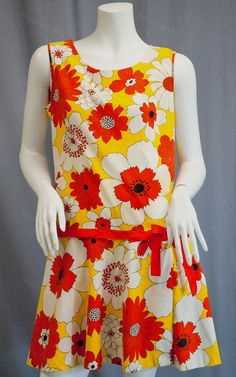 Vintage Mod scooter mini dress wit shorts under yellow orange floral print circa 1960s from Recursive Chic @ recursivechic.com