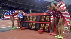 From left, American sprinters Tianna Madison, Carmelita Jeter, Bianca Knight and Allyson Felix celebrate their gold medal and world record in the women's 4x100-meter relay at the London Olympics. These ladies can run!!!!!