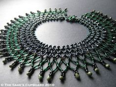 Black Emerald Necklace. Dark Green and Gunmetal Beaded Netting Collar