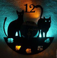 Купить Часы настенные с подсветкой из виниловой пластинки Котифры   черный,  часы, часы настенные