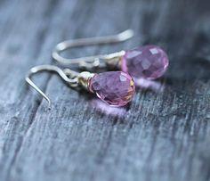Pink Teardrop Earrings Sterling Silver by ClaudetteTreasures