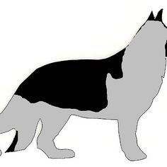 german shepherd black and silver silhouette
