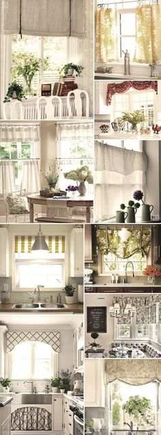 Here are some different curtains styles you can use in the #kitchen. Divide: Break up the window space. Have a half curtain on the bottom of…