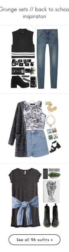 """""""Grunge sets // back to school inspiraton"""" by lydiamckx ❤ liked on Polyvore featuring Monki, Vagabond, Topshop, Chloé, Polaroid, Lee Angel Jewelry, Charlotte Russe, H&M, Dr. Martens and LiamDunbar"""