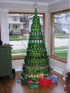 beer/wine bottle tree  I think if i have this many bottles my friends should be concerned lol ... way too much wine