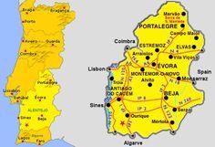 MAP OF alentejo #Marvao #Alentejo #Portugal #travel #hotel #Boutiquehotelpoejo