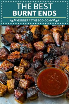 This recipe for burnt ends is tender cubes of brisket coated in BBQ sauce, then cooked until caramelized. The most delicious way to enjoy brisket. Brisket Meat, Beef Brisket Recipes, Smoked Beef Brisket, Traeger Recipes, Smoked Meat Recipes, Smoked Pork, Barbecue Recipes, Grilling Recipes, Pork Recipes