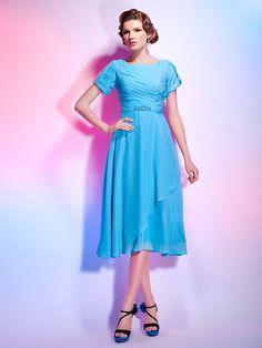 Cocktail Party Dress - Pool Plus Sizes / Petite A-line / Princess Jewel Tea-length Chiffon - USD $ 79.99