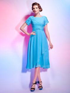 Cocktail Party Dress - Pool Plus Sizes / Petite A-line / Princess Jewel Tea-length Chiffon - USD $ 79.99