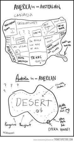 """America and Australia. May I just point out """"Middle Earth that way"""" on the map of Australia! Australia Tumblr, Australia Funny, Australia Vs America, America Vs Britain, Sydney Australia, Funny Quotes, Funny Memes, Hilarious, Jokes"""