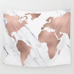 Metallic shimmery pink copper bronze rose gold continents on a classic black and white marble background. In my store get old maps new map antique gold rose earth vintage adventure earth stars space maps wild hiking national park wanderlust explore r