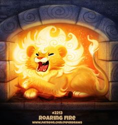 Daily Paint Roaring Fire by Cryptid-Creations on DeviantArt Cute Food Drawings, Cute Animal Drawings Kawaii, Cute Cartoon Animals, Anime Animals, Cute Little Animals, Cool Drawings, Cute Fantasy Creatures, Mythical Creatures Art, Cute Creatures