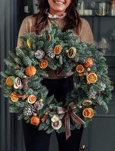 Large real Christmas wreath with dried oranges, pine cones, cinammon and a tartan bow. Christmas Love, Christmas 2019, Christmas Holidays, Christmas Tree Decorations, Christmas Wreaths, Christmas Crafts, Holiday Decor, Dried Oranges, Time To Celebrate