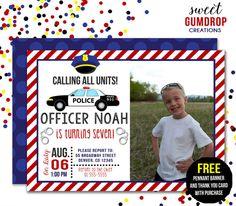 Police Officer Birthday Invitation  Printable  by SweetGumdrop