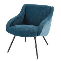 Sessel aus Velours im Vintage-Stil, blau und Metall | Maisons du Monde