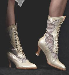1a783254d67a These white granny Victorian boots have white see through lace with a shaft  and a heel and lace up hooks