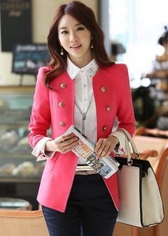 Women Fashion Double-Breasted Wool Coat
