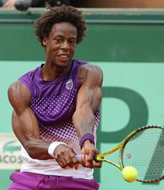 Frenchman Gael Monfils hits a shot during his French Open mens fourth round match against Spaniard David Ferrer at Roland Garros in Paris on May Monfils defeated Ferrer to advance to the quarterfinals. Tennis Federer, Gael Monfils, Match Point, Tennis Tips, Sport Tennis, Soccer, Sports Clubs, Sports News, Wimbledon
