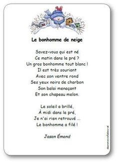 Poésie Le bonhomme de neige French Poems, Rhyming Poems, Education And Literacy, Literacy Activities, French Christmas, French Classroom, French Resources, Shared Reading, French Immersion