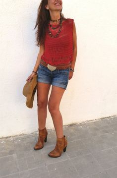 Knit cropped sweater, summer cotton cover up. I want one!!! por EstherTg