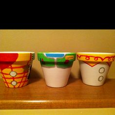Painted flower pots for a Toy Story birthday party I made!