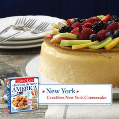 50 States in 50 Days:  New York :: Crustless New York Cheesecake Recipe from Taste of Home.    Find regional Northeastern recipes like this one and more in our new cookbook, Recipes Across America---->  http://www.tasteofhome.com/rd.asp?id=22997