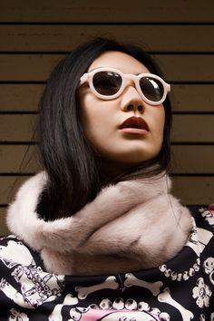 TYG Sunglasses, Saverio Palatella Pink Mink Snood, Moschino Cheap + Chic Sweater 2015  #TYGSunglasses #SaverioPalatella #BoutiqueMoschino #2015