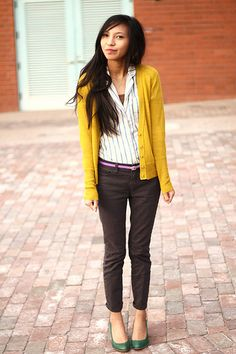 Mustard cardigan, striped button down, chocolate pants, forest green shoes. Fall Outfits, Cute Outfits, Fashion Outfits, Womens Fashion, Work Outfits, Mustard Yellow Sweater, Yellow Cardigan, Yellow Fashion, Skinny Pants