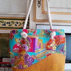 Sac  Samba liège et imprimé japonais cousu par Bes Cat - Patron sac Sacôtin