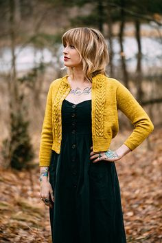 Ravelry: LYS pattern by Andrea Mowry Knitting Buttonholes, Knit Vest Pattern, Vintage Hipster, Cute Cuts, Yellow Sweater, Warm Outfits, Cropped Cardigan, Stockinette, Pulls