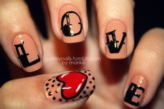 Nail art - Beige with lettering, heart and dots (love the font and design of the heart, must try this sometime)