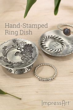 A hand-stamped keepsake for your hand stamped keepsakes! Keep all of your tiny treasured trinkets safe but accessible with the help of a personalized, hand-stamped ring dish. Resin Jewelry, Jewelry Crafts, Handmade Jewelry, Jewlery, Metal Stamped Bracelet, Hand Stamped Jewelry, How To Make Rings, Wooden Earrings, Ring Dish