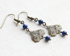 Blue Lapis Lazuly Earrings Art Nouveau Jewelry by KapKaDesign, $39.00
