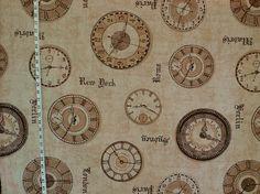 Travel Fabric | Travel Fabric clock time New York Rome horology destash