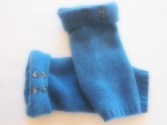 Fingerless Gloves Cashmere Blue Many styles and colors available by ArtisanFeltStudio on Etsy
