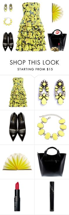 """""""Yellow Fan"""" by duci ❤ liked on Polyvore featuring Alice + Olivia, SHOUROUK, Yves Saint Laurent, Ruby Rocks, HAY, Massimo Castelli, Bobbi Brown Cosmetics, Manic Panic and Rimmel"""