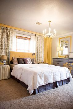 Great master bedroom yellow gray  2-1.10PaslayHome-05 by karapaslay, via Flickr