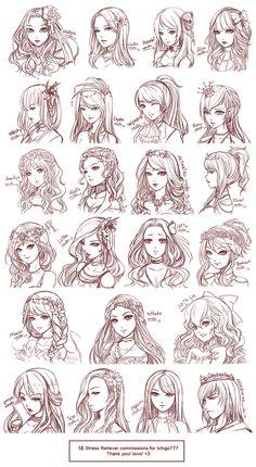 Ideas for hair art reference anime girls - Sketches, Anime Drawings Sketches, Art Reference Poses, Drawing Hair Tutorial, Drawings, Girl Hair Drawing, Manga Hair, Art Inspiration, Anime Hair