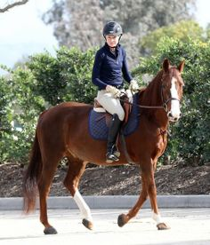 Portia de Rossi - Actress and wife of Ellen DeGeneres is an avid horse rider. Portia credits her horse with giving her the strength and motivation to get over an eating disorder, The couple recently sold there 26 acre horse ranch for $10.85 million.