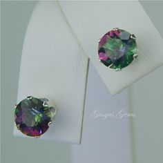 Rainbow Mystic Topaz Stud Earrings Sterling Silver 7mm Round 3.45ctw. $52.00, via Etsy.